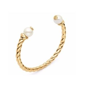TORY BURCH ROPE LOGO CUFF FAUX IVORY PEARLS BANGLE